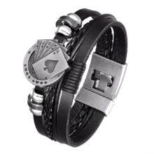 2020 новый стиль, модный винтажный кожаный браслет для мужчин Poker Raja Vegas Шарм многослойная тканая Женская Pulseira Masculina