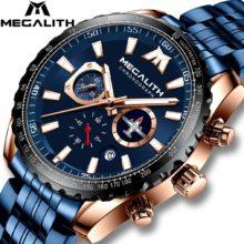 Спортивные часы MEGALITH для мужчин, светящиеся кварцевые часы с авиаторной указкой, водонепроницаемые, до 30 м, полностью стальные, военные, наручные часы с коробкой