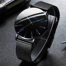 2020 минималистичные мужские модные ультра тонкие часы простые мужские деловые часы из нержавеющей стали с сетчатым ремешком кварцевые часы Relogio Masculino