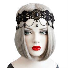 Эластичная Повязка на голову для женщин, черная Цветочная кружевная цепь с искусственным жемчугом и кисточками