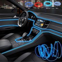 3 м автомобиль 12 В светодиодный холодный свет гибкая неоновая электрическая проволока авто лампы на полосы линии украшения интерьера светящиеся провода