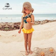 CUPSHE/комплекты бикини с оборками и цветочным рисунком с юбкой для девочек; коллекция 2020 года; Детские купальники для малышей; купальные костюмы; От 2 до 12 лет