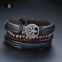 Vnox 4 шт./компл. плетеные кожаные браслеты для мужчин, винтажный Древо-руль, очаровательные деревянные бусы, Этнические браслеты для племени