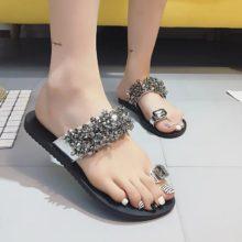 Пикантные шлепанцы со стразами; женская повседневная Летняя обувь; Вьетнамки; женские шлепанцы; большие размеры 35-42; Цвет черный, серебристый; женская обувь