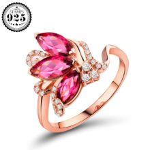 Ювелирные изделия из розового и красного циркония, женские кольца, серебро 925 пробы, свадебные помолвки, опт, ювелирные аксессуары, регулируемое открытие