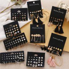 Женские серьги FNIO, серьги с жемчугом для женщин, богемные модные ювелирные изделия 2020, геометрические серьги-гвоздики с кристаллами в форме сердца