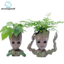 Strongwell детский кашпо «Грут» цветочный горшок, фигурки, дерево, человек, Милая модель, игрушечная ручка, горшок для сада, цветочный горшок, подарок