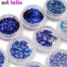 Набор из 12 коробок для дизайна ногтей Стразы Королевский Синий Сердце Звезда Блестки бусины блестящая пудра для ногтей с блестками жемчуг DIY украшения