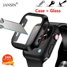 Чехол + закаленное стекло для Apple Watch, 40 мм, 44 мм, серия 5, 4, защита для экрана, чехол-бампер для iwatch, серия 3, 2, 1, 38 мм, 42 мм