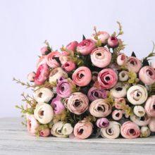 Европейские винтажные Искусственные Шелковые Чайные розы 6 головок 4 маленьких бутона Букет Свадебные домашние искусственные в стиле ретро вечерние цветы украшение своими руками
