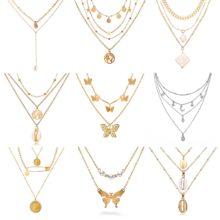 Женское ожерелье с подвеской в виде бабочки 17 км, модное Золотое многослойное ожерелье-чокер с Луной, богемное ювелирное изделие 2020