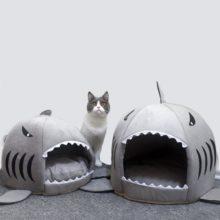 Горячая кошка коврик акула форма дом теплый питомник котята кровать один коврик Два использования питомник кошки кровати открытый тент товары для питомцев корзина для кошек