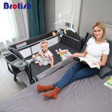 Brotish кроватки Сращивание Большой кровати съемный bb Многофункциональный портативный складной Новорожденные прикроватный ограничитель для кровати