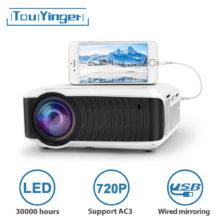 Мини LED проектор TouYinger T4, портативный HDMI проектор 1280×720, USB домашний кинотеатр, опциональная поддержка проводной синхронизации дисплея AC3 для телефонов и планшетов