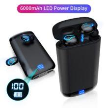 Q66 беспроводные V5.0 Bluetooth наушники HD стерео наушники спортивные водонепроницаемые наушники с двойным микрофоном и 6000 мАч чехол для зарядки аккумулятора