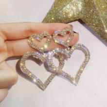 Преувеличенные модные серьги Двойные сердца, длинные женские серьги-капельки