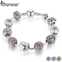 Женский античный серебряный шарм BAMOER, браслет с цветами и сердечком, 4 цвета, 18 см, 20 см, 21 см, PA1455
