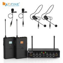 Беспроводная микрофонная система, двухканальный беспроводной микрофонный набор Fifine UHF с 2 гарнитурами и 2 отворотом петличный микрофон. K038