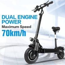 Электрический скутер janobike, складной электрический скутер с двойным мотором, 52 в/2000 Вт, 10 дюймов