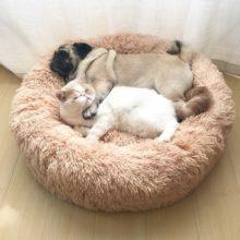 Длинная плюшевая кровать для собак, очень мягкая кровать для питомцев, Круглый домик для собак, кровать для кошек, кровать для собак, большой коврик для чихуахуа, скамейка, товары для домашних животных