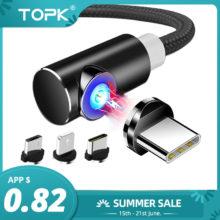 Магнитный Micro USB кабель TOPK, 1 м, 2 м, для iPhone, samsung, usb type-C, Магнитный зарядный кабель, usb C, мобильный телефон, кабели
