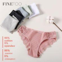 FINETOO, хлопковые трусики, 3 шт./лот, однотонные женские трусики, комфортное нижнее белье, приятные для кожи, женские сексуальные трусы с низкой посадкой, нижнее белье