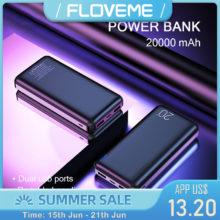 Внешний аккумулятор FLOVEME, портативное зарядное устройство, 20000 мАч, для Xiaomi Mi