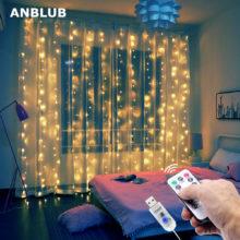 : ANBLUB 3M USB светодиодный Шторы строки мигают Волшебная гирлянда дистанционного Управление для новогоднее; рождественское открытый свадебный Декор для дома
