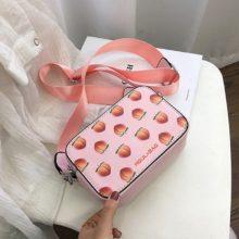 Новые сумки с фруктовым узором, маленькая сумка на плечо в форме коробки, сумка через плечо с клубникой, сумка-мессенджер с авокадо, модный клатч