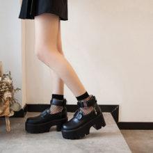 Обувь Mary Jane в готическом стиле Лолиты с круглым носком; Обувь в японском стиле для школьниц; JK; Обувь из искусственной кожи на платформе с ремешком; Водонепроницаемая обувь черного цвета