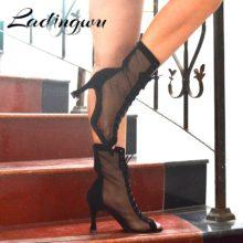 Женская танцевальная обувь Ladingwu черного цвета в классическом стиле; женская обувь для латинских танцев на металлическом каблуке 8,5 см; Обувь для бальных танцев; обувь для сальсы