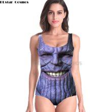 Купальник женский, без рукавов, с 3D принтом
