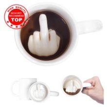 Креативный дизайн белая кружка среднего пальца, новый стиль смешивания кофе молоко чашка смешная керамическая чашка 300 мл емкость воды
