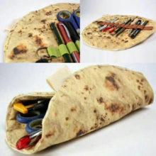 Косметическое хранение кистей для макияжа, сумки для имитации блинов, пиццы, канцелярские принадлежности, свернутый коллекционный мешок, креативный складной estojo escolar