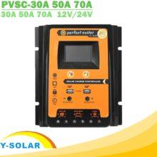 30A 50A 70A MPPT ШИМ Солнечный Контроллер заряда 12 в 24 в двойной USB Солнечный регулятор с большим ЖК-дисплеем IP32 PV Контроллер заряда батареи таймер нагрузки