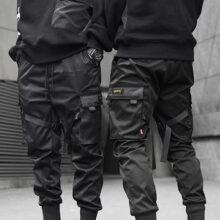 Мужские Длинные шаровары в стиле хип-хоп, черные повседневные спортивные брюки-карго для занятий спортом, 2020