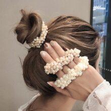 Женские резинки для волос с жемчужинами, 14 цветов, элегантные резинки для фиксации хвостиков, эластичные аксессуары для волос
