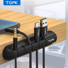 TOPK Кабельный органайзер силиконовый usb-кабель для намотки рабочего стола аккуратные зажимы для управления Кабельный Держатель для мыши для наушников Проводной Органайзер