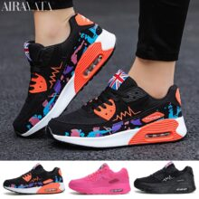 Повседневные кроссовки для женщин, модный дышащий светильник, на шнуровке, на воздушной подушке, на платформе, спортивная обувь для бега