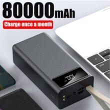 Внешний аккумулятор 80000mah Led 2 USB ремешок внешний аккумулятор фонарик Рыбалка Открытый портативный сотовый телефон зарядное устройство для Xiaomi