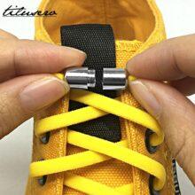 Упругие шнурки без завязок, металлическая обувь на шнурках и застежке для детей и взрослых, кроссовки, быстрые шнурки, полукруглые шнурки, F089