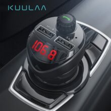 Автомобильное зарядное устройство KUULAA, fm-передатчик, Bluetooth, автомобильный аудио mp3-плеер, tf-карта, автомобильный комплект, 3,4 А, двойное USB Автомобильное зарядное устройство для телефона для Xiaomi Mi