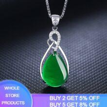 YANHUI женское ожерелье из стерлингового серебра 925 пробы, подвеска из корунда, нефрит, бирюза, серебро 925 пробы, рубин, драгоценный камень Bizuteria