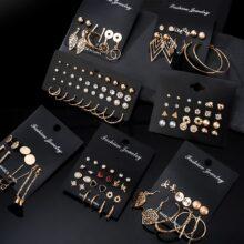 12 пар/компл. серьги-гвоздики жемчужные серьги для женщин в богемном стиле, модное ювелирное изделие, 2020 геометрический кристалл серьги в виде сердца, новинка