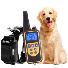 Электрический тренировочный ошейник для собак, с дистанционным управлением до 800 м, водонепроницаемый, перезаряжаемый с ЖК-дисплеем, универсальный размер, удар током, вибрация, звук
