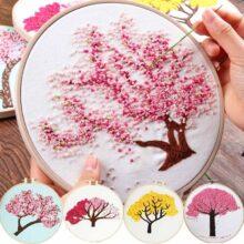 Сделай Сам Вышивка растения Вишневое дерево ручная работа рукоделие для начинающих набор крестиков ленточная живопись вышивка обруч домашний декор