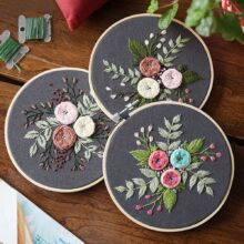 Сделай Сам Вышивка цветок ручная работа рукоделие для начинающих набор крестиков ленточная живопись вышивка обруч украшение для дома