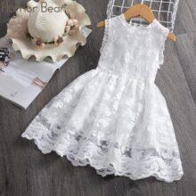 Платье для девочек с вышитыми листьями, без рукавов, летняя одежда для малышей