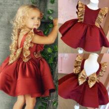 От 1 до 6 лет; Рождественское детское платье принцессы для маленьких девочек; Элегантное торжественное праздничное платье с блестками; Рождественское платье с бантом