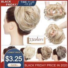 SNOILITE 80 г прямой пончик-шиньон волосы синтетические Омбре эластичные Updo шиньон пушистые грязные резинки волос пучок для женщин